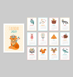 Cute animal calendar 2021 kid animals forest vector