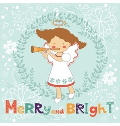 Cute Christmas card with happy angel vector