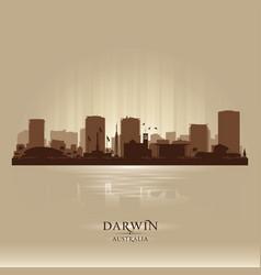 Darwin australia city skyline silhouette vector