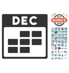 December Calendar Grid Flat Icon With Bonus vector