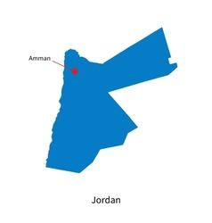 Detailed map of Jordan and capital city Amman vector