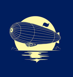 Dirigible airship with full moon vector