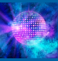 Disco ball outer space background vector