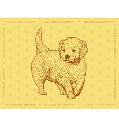 Dog Golden Retriever on a yellow ornamental backgr vector