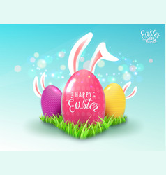 Easter background with green grass color decorate vector