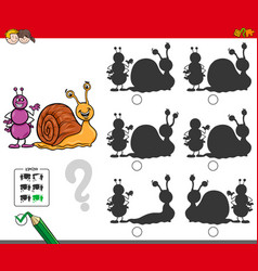 Educational shadow game with ant and snail vector