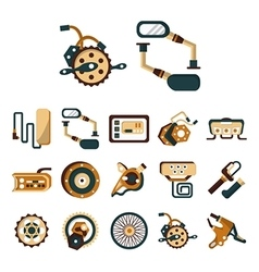 Electric bike details flat color icons vector image