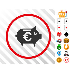 euro piggy bank rounded icon with bonus vector image