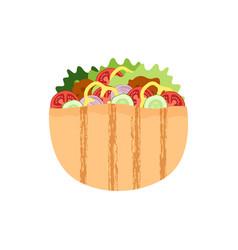 falafel in pita meatball salad in bread vector image