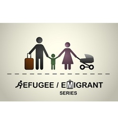 Family of immigrants or refugees vector