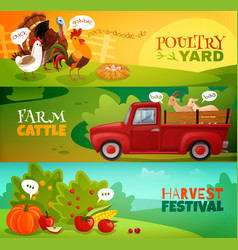 Farm horizontal banners set vector