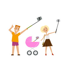 Father mother and baby in pram all making selfie vector
