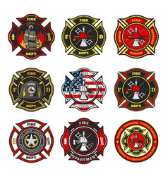 Fire department badges firefighter team emblems vector