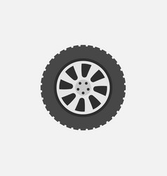 flat car wheel with tire icon on gray vector image
