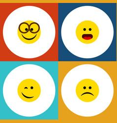 Flat icon emoji set of sad wonder winking and vector