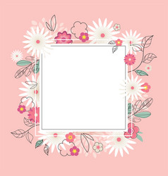 floral spring graphic design with colorful flowers vector image