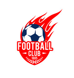 football soccer club badge fire ball icon vector image