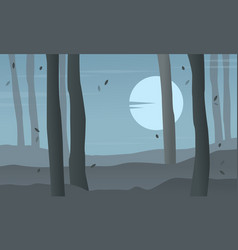 Forest at night scenery silhouettes vector