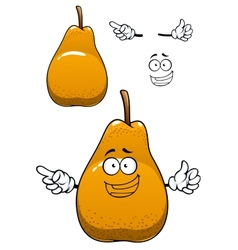 Funny yellow pear fruit cartoon character vector