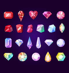 gemstones jewel and precious stone icons vector image