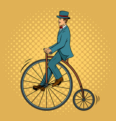 gentleman ride vintage bicycle pop art vector image