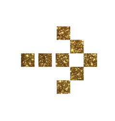 Glitter golden isolated arrow flat icon vector