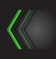 green light neon arrow direction on dark grey vector image