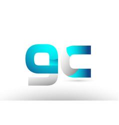 Grey blue alphabet letter gc g c logo 3d design vector