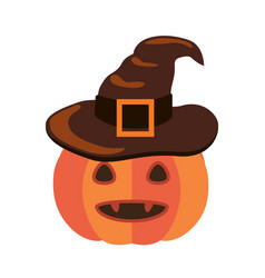 Halloween pumpkin with canines and in witch hat vector