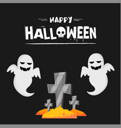 Happy halloween cartoon ghost tomb stone im vector