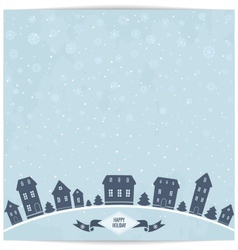 Happy holidays card with blue city silhouette vector image