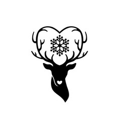 Head deer with antlers love vector