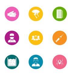 Health intervention icons set flat style vector