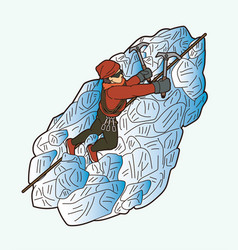 hiker climbing mountain hiking cartoon graphic vector image