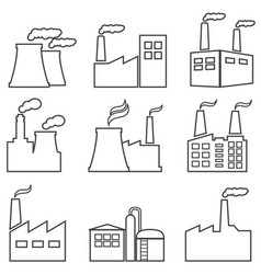 industrial buildings line icons vector image