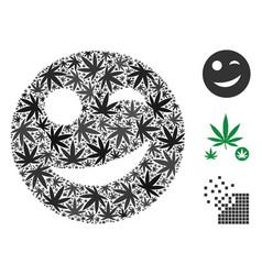 Joy smiley mosaic of marijuana vector