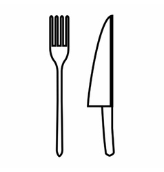 Knife and fork icon outline style vector image
