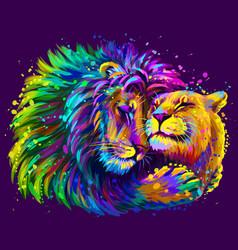 Leos a lion embraces a lioness vector