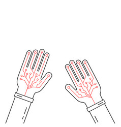 Linear virtual gloves on hands vector