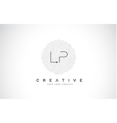 lp l p logo design with black and white creative vector image