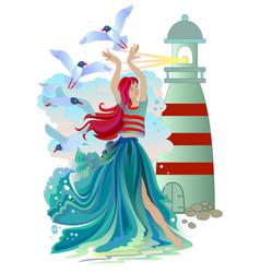 Marine fairy with seagulls waves and a lighthouse vector