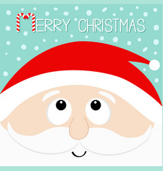 merry christmas candy cane santa claus head face vector image