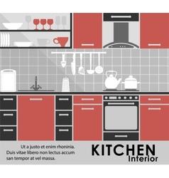 Modern kitchen interior in flat style vector image