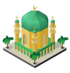 mosque with minarets and palm trees in isometric vector image
