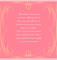 pink background with elegant frame vector image