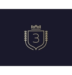 Premium number 3 ornate logotype Elegant numeral vector