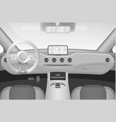 Realistic black and white car interior vector