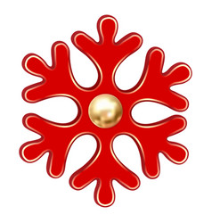 red christmas snowflake icon realistic style vector image