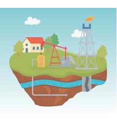 Refinery plant pump gas process exploration vector