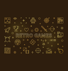 Retro games concept golden banner in thin vector